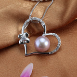 Pearl Necklace Love Shape Pendant AAAA High Quality Platinum Plated Gift For Women 9-10mm Pearl Jewelry collier