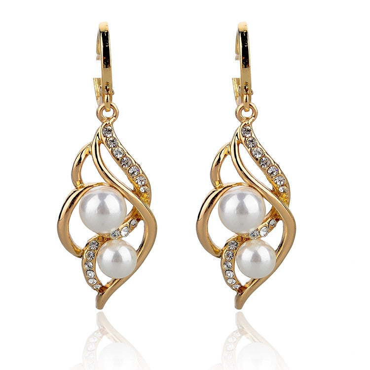 Pendientes Double Simulated Pearl Earrings For Women Crystal Gold Drop Earrings Imitated Diamond-Jewelry Brincos
