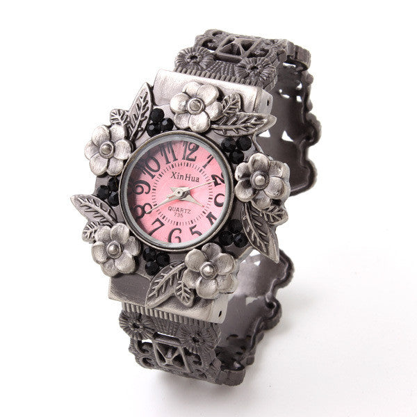 Fashion Wristwatch Flower Case Hollow Bracelet watch Vintage Watches Analog ladies quartz watches