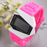 Aircraft LED Watches Digital hours Stainless steel Case Sports Watch Back Light rubber strap Casual watches