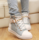 New spring shoes women rivets canvas shoes +PU surface fashion belt buckle high running shoes for leisure sneakers