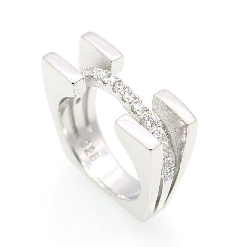 Platinum Filled 925 Sterling Silver RIng And Cubic Zirconia Ring Romantic Wedding Rings Jewelry