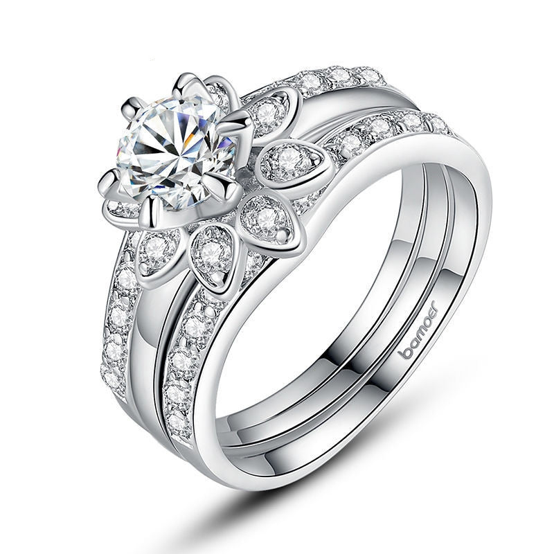 Platinum Plated Couple Flower Ring Bridal Set for Women with AAA Cubic Zircon Surround Jewelry