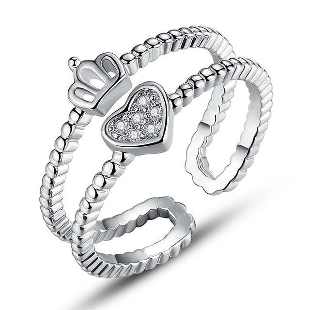 Platinum Plated Heart Shape Finger Ring with AAA Zircon for Women Anniversary Fashion Jewelry