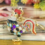 Pretty Chic Opals Cock Rooster Chicken Crystal HandBag Pendant Key ring Keychains Christmas Gift Jewelry