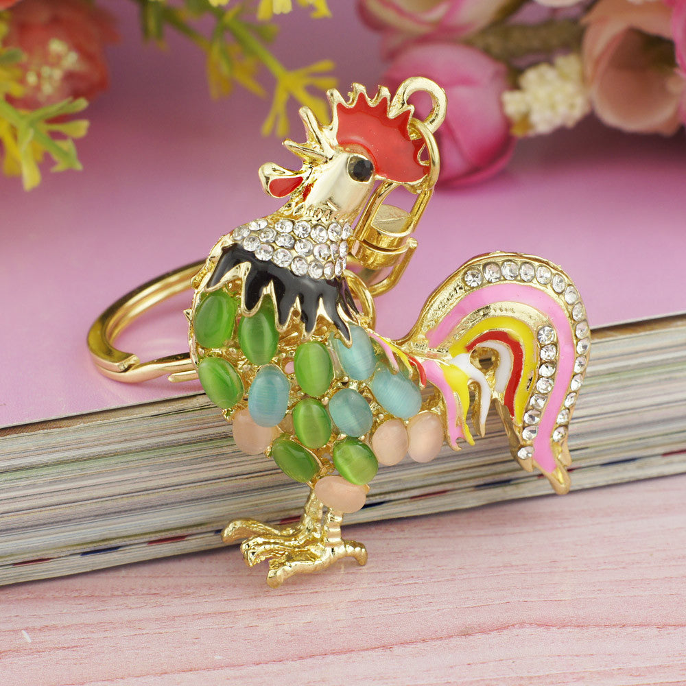 Pretty Chic Opals Cock Rooster Chicken Keychains Crystal Bag Pendant Key ring Key chains Christmas Gift Jewelry Llaveros