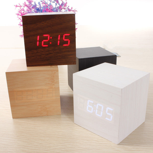 Cube LED Alarm Clock Temperature Sounds Control display electronic desktop Digital Wooden table clocks