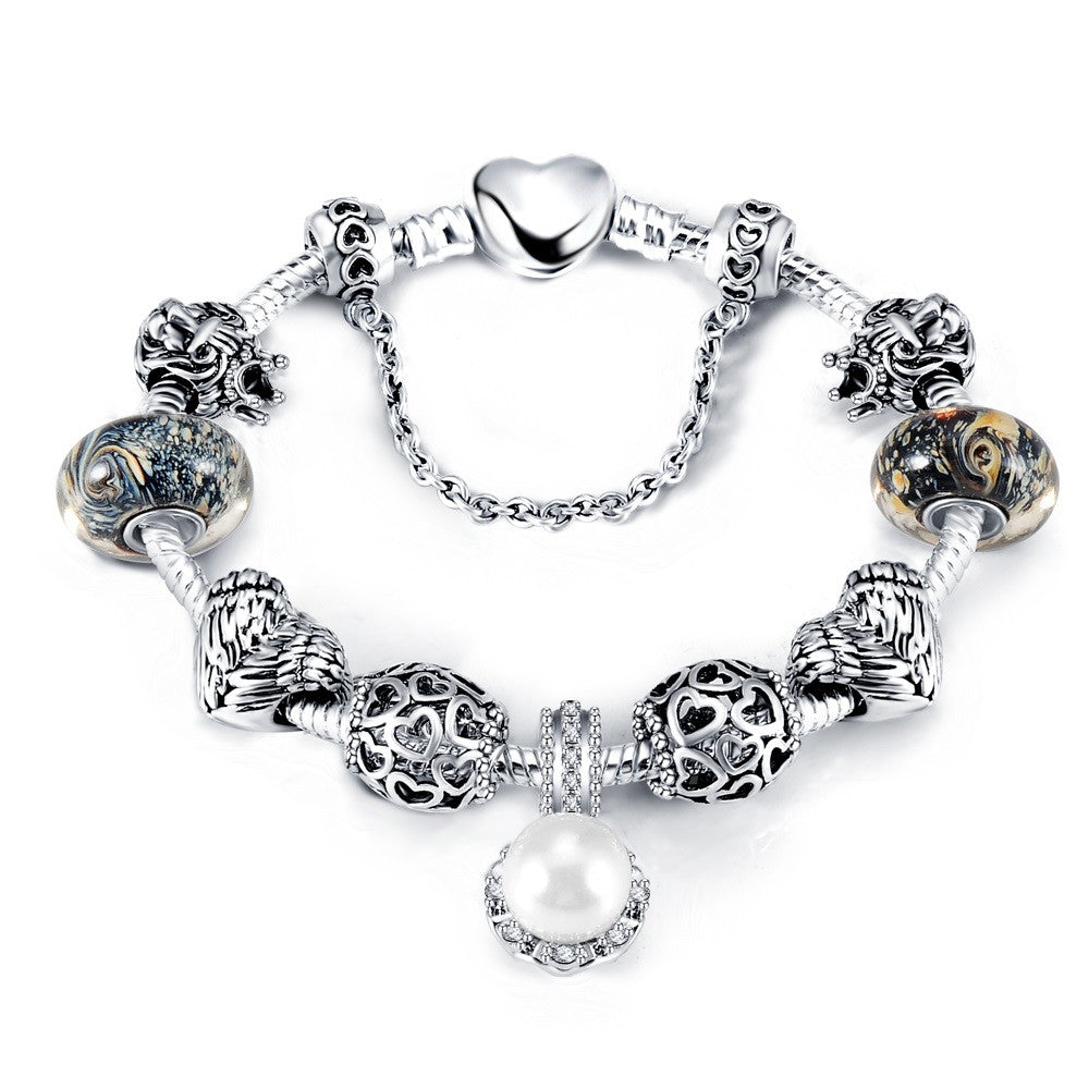 New Antique 925 Silver Charm Bangle & Bracelet with Love and Flower Crystal Ball for Women Wedding