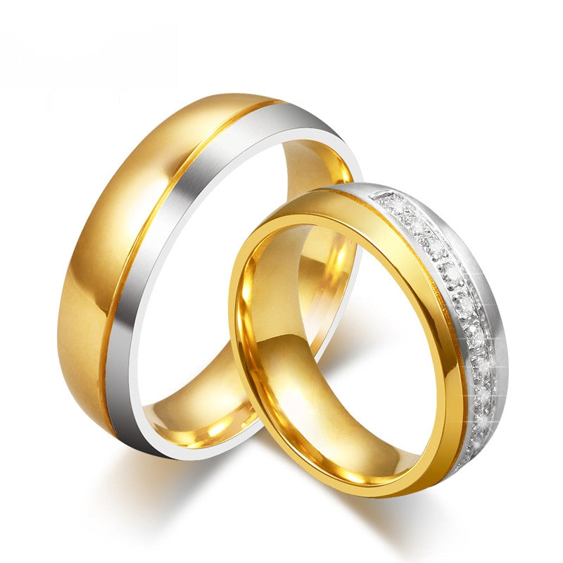 Wedding Bands Rings For Women Men 18K Gold Plated Love CZ Diamond Jewelry Anillos