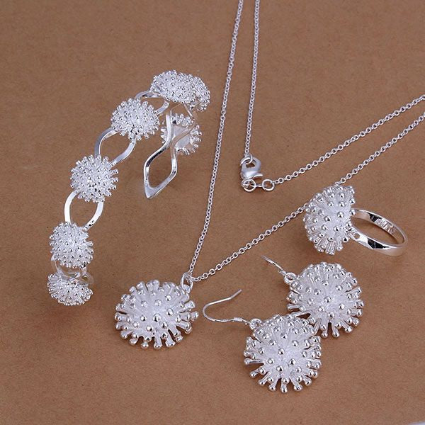 Silver plated jewelry set fashion jewelry set Fireworks Ring Drop Earrings Bangle Necklace Jewelry Set