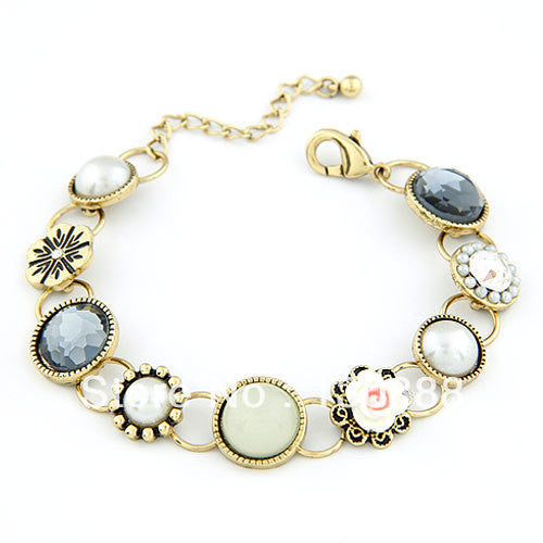 New 2016 Charm Pulseiras Femininas Vintage Imitated Pearl Crystal Flower Bracelets Bangles Fashion Jewelry for Women pulseira
