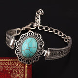 Pulsera Vintage Oval Turquoise Stone Bracelet Silver Plated Flower Alloy Metal Carved Charm Link Chain Bracelets Accessory