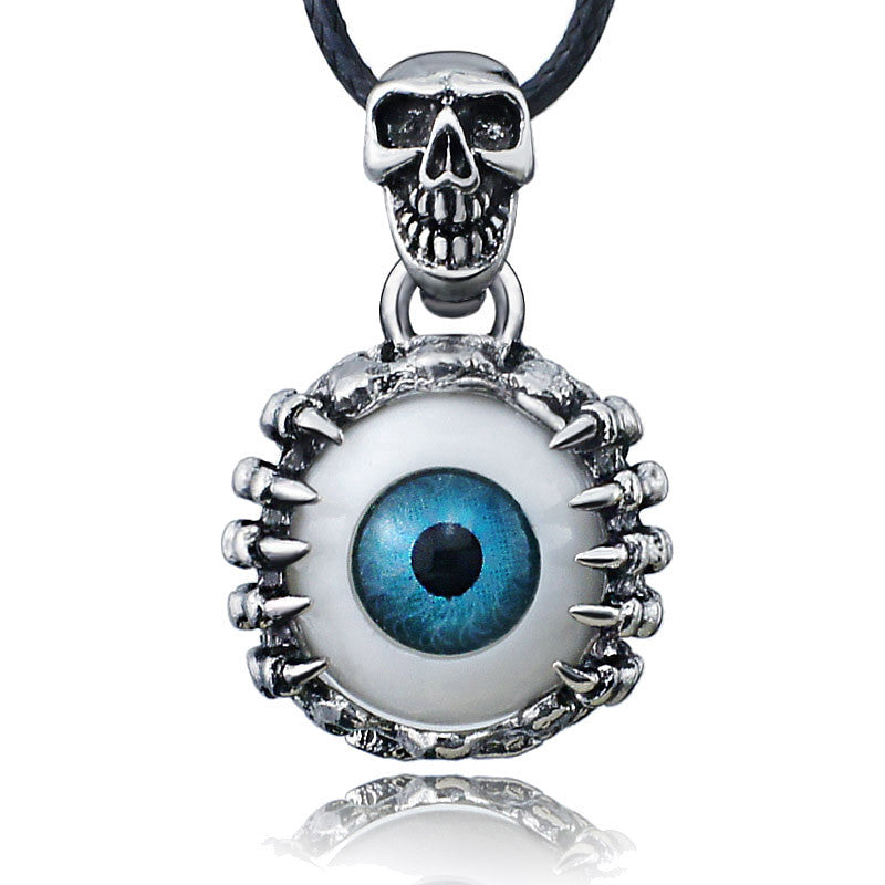 Punk Men's Skeleton Skull Eyes silver tone Titanium Stainless Steel leather chain Pendant Necklace