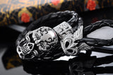 Punk Rock Men's Bracelet Stainless Steel skeleton Skull Biker Bracelet Bangle Black Leather Bracelet Braided Rope Double Layers