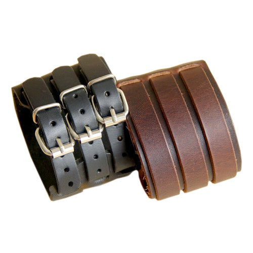 Punk Rock New 2 Layer Belt Men Genuine Cow Leather Bracelet 3 Buckle Wristband Cuff Bangle