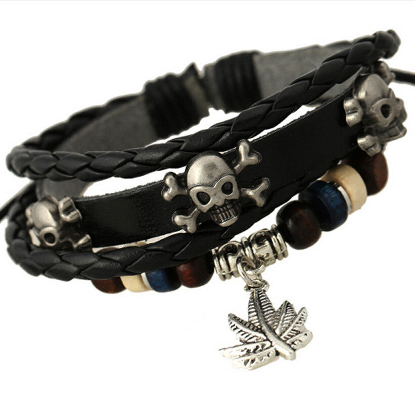 Punk Style Personality Skeleton Skull Rivets Bracelet Cute Maple Leave Bangles Leather Woven Men's Bracelets Band Wrap Jewelry