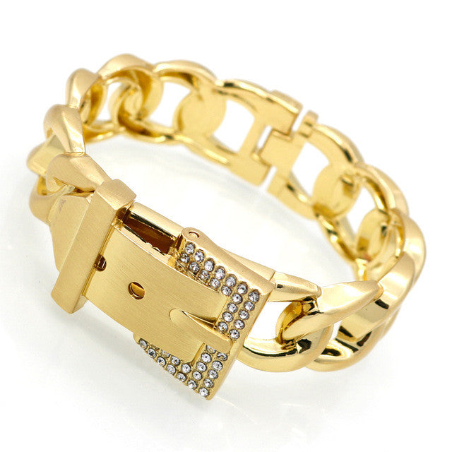 Women Jewelry Smooth Simply Girl Bracelet 18K Gold Plated 18mm Wide Bracelet Crystal Paved Clasps Belt Buckle