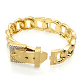 Punk Women Jewelry Smooth Simply Girl Bracelet 18K Gold Plated 18mm Wide Bracelet Crystal Paved Clasps Belt Buckle