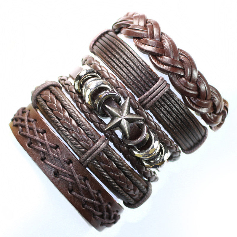 Punk bangles handmade brown ethnic genuine leather bracelet with star meta for men free shipping (5pcs/lot)