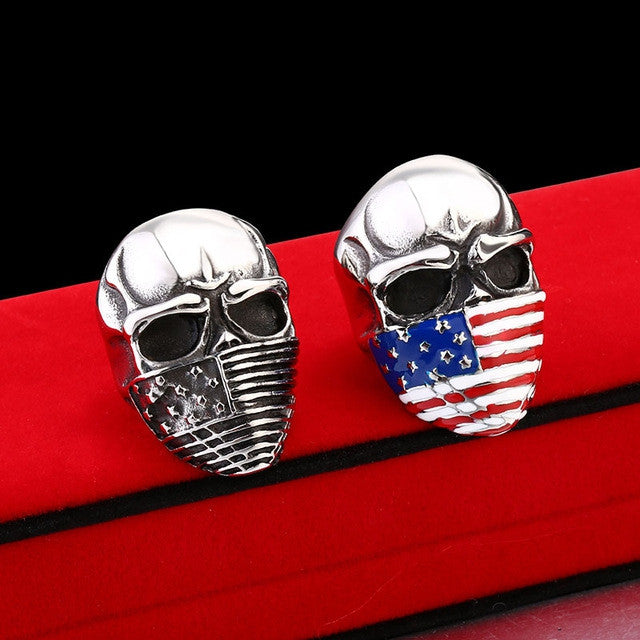 Punk American Flag Stainless Steel Skull Ring for Man Personality Biker Jewelry