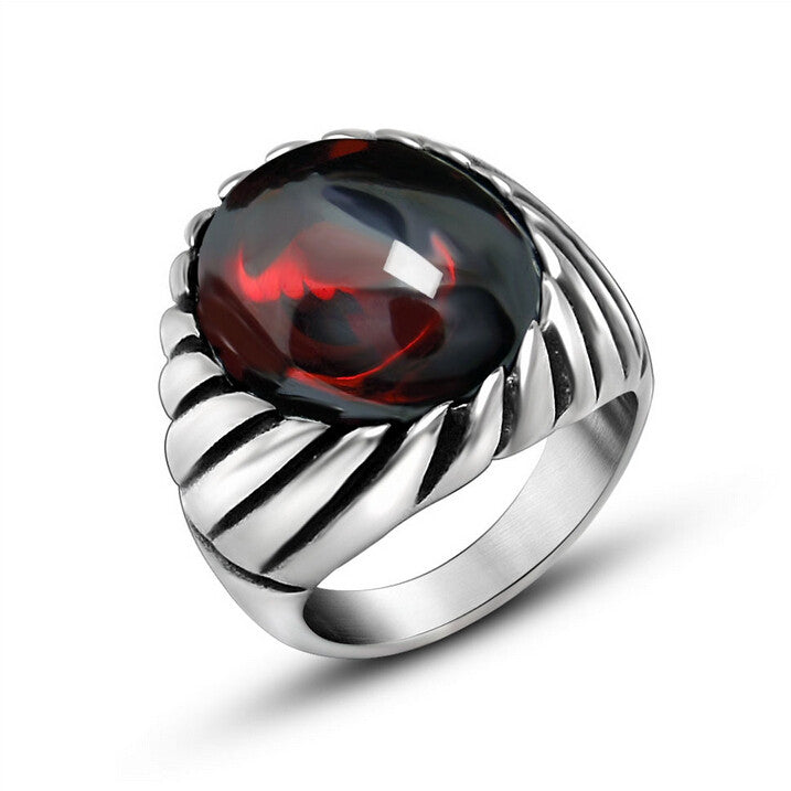 Punk Never Fade Stainless Steel Ruby Rings For Men Big Red Black Natural Stone Ring Men CZ Diamond Wedding Jewelry Anel