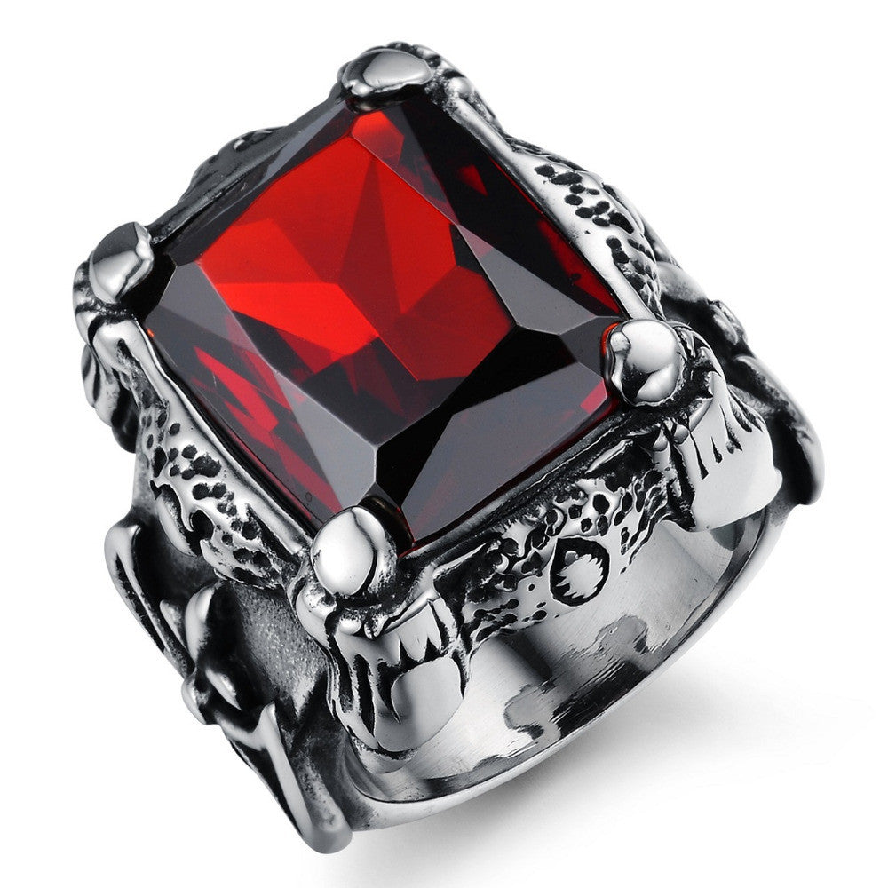 Punk Real stainless steel Ruby Ring Men's 13KT big red stones Finger Rings for man High Quality