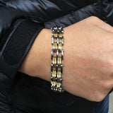 Punk Style 220m Stainless Steel Bracelets & Bangles Gold Plated Male Fashion Jewelry Men Bracelets