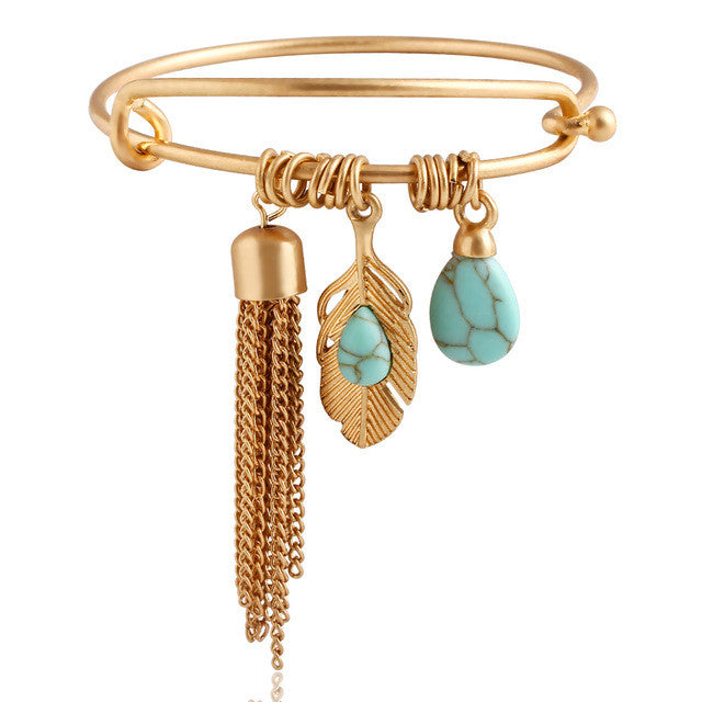 Punk Vintage Turquoise Tassel Bangle pulseras Alloy Gold Color Classic Leaf Feather Bangles Fine Jewelry