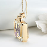 Purple Dried Flower Collares Glass Square Pendant Necklace Gold Color Long Chain Statement Necklace Women Fine Jewelry