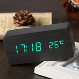 Quality Digital LED Alarm Clock Sound Control Wooden Despertador Desktop Clock USBAAA Powered Temperature Display