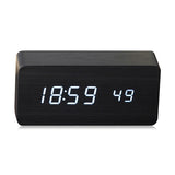 Quality Digital LED Alarm Clock Sound Control Wooden Despertador Desktop Clock USB/AAA Powered Temperature Display