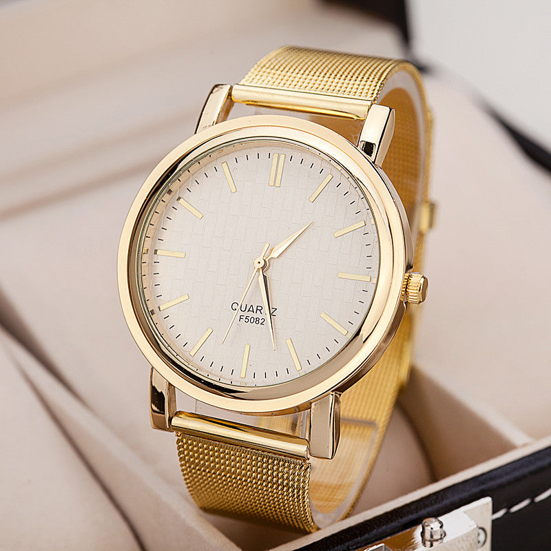 Quartz Casual watch Fashion Bright Gold band Women wristwatches Brand New Metal Mesh Stainless Steel watches
