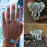 New Bohemia Vintage Tibetan Silver Plated Boho Rings Unique Design Elephant Ring