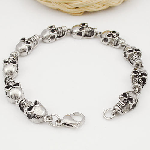 ROCK/PUNK Skull Link Bracelets Hand Chain Casting 316L Stainless Steel Mens Jewellery