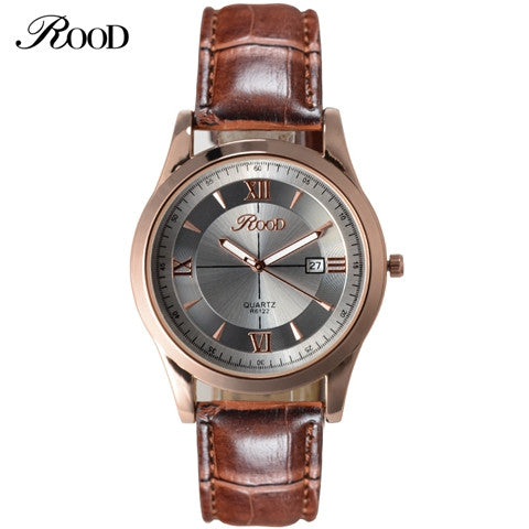 ROOD Brand Watch Free Gift Box 5 Color Rose Gold Simple Plate Leather Strap Quartz-watch Waterproof wrist watches for men
