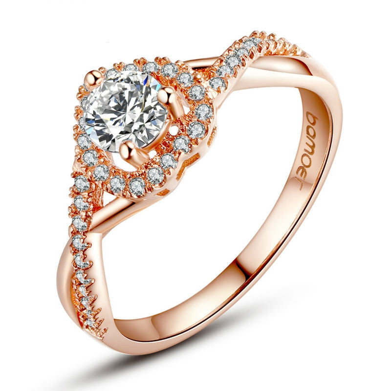 Real 18K Rose Gold Plated Heart Shape Ring for Women with Paved Micro AAA CZ Jewelry