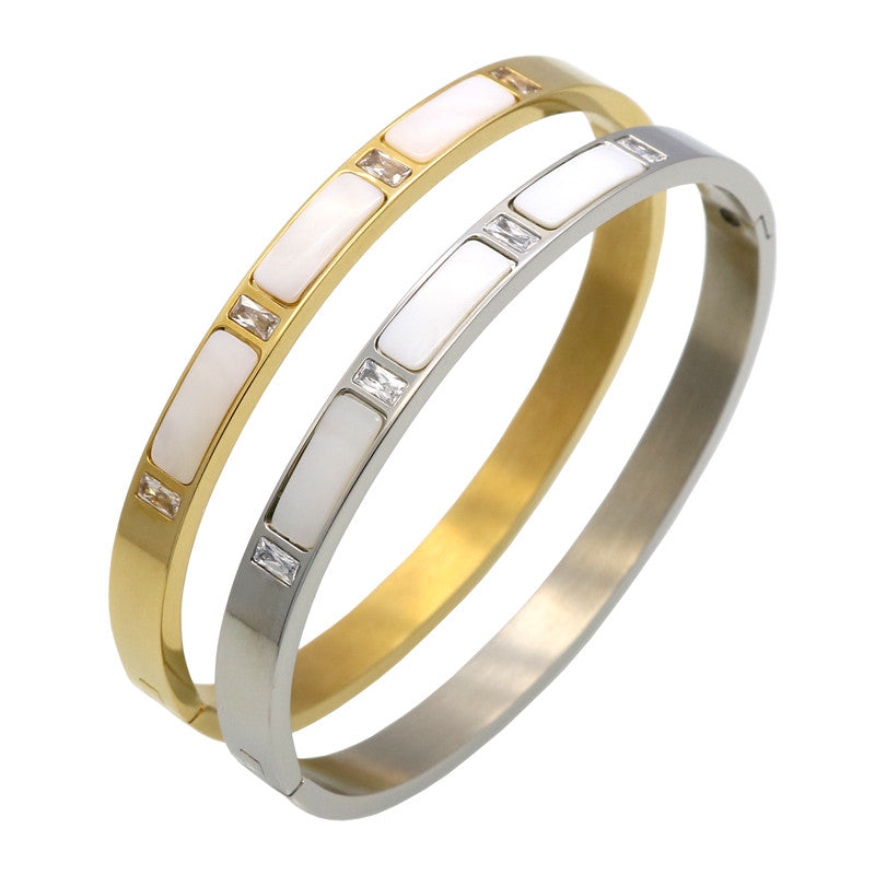 Gold Plated Stainless Steel Natural Shell Bracelets Bangles, Roman Letter Crystal Bangle For Women Jewelry pulseiras joyas