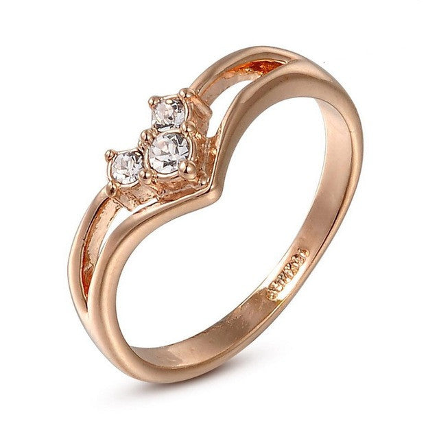 Real Italina Rigant Austrian Crystal 18KRGP gold Plated Rings for Women Zirconia Fashion healthy Anti Allergies