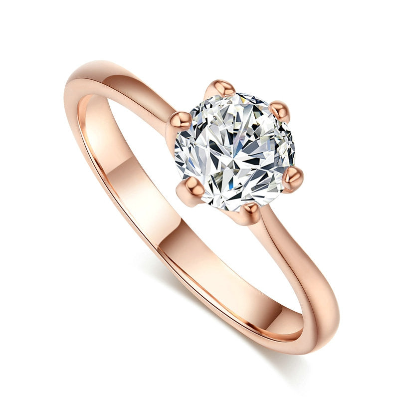 Real Gold Plated Six Claw CZ Round Cut 1 Carat 6mm Wedding Ring Austrian Crystals Wholesale For Women