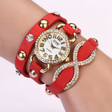 New Arrial PU Leather Strap Women Watches Fashion Cross Love Bowknot Pattern women Dress Watch drill wristwatch