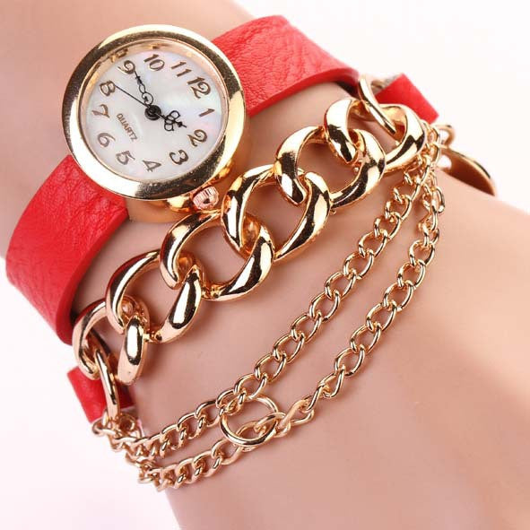 New Arrivals Women Fashion Leather Strap Watches Chain Rivet Bracelet Women Dress Watch Wristwatches Casual Gift