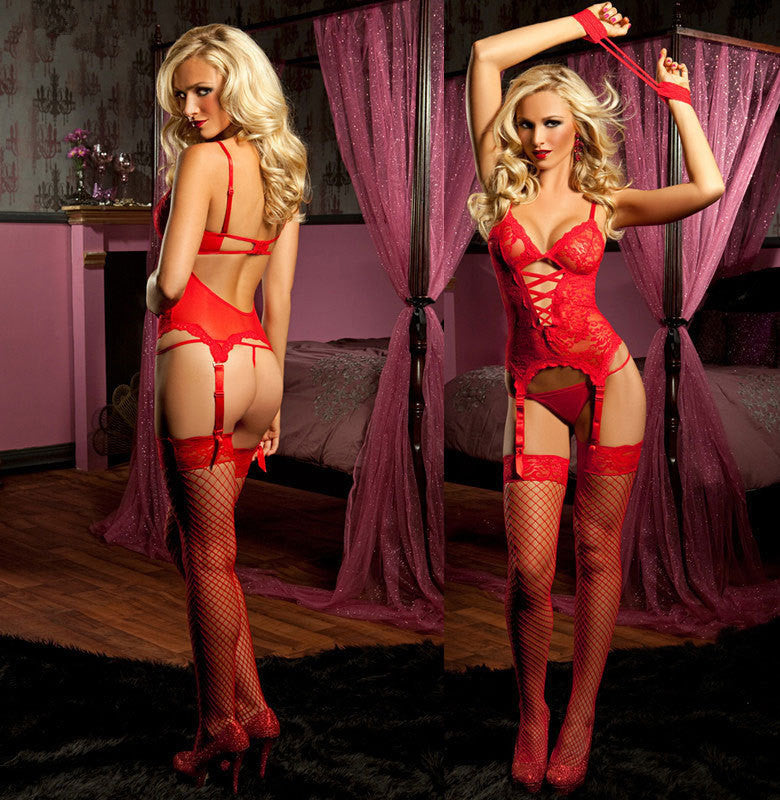 New Women's Sexy Lingerie Black Red Lace Dress+G string+Handcuff+Garter Belt