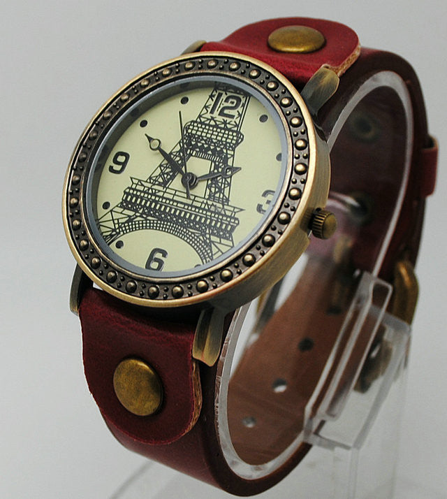 Retro Fashion Quartz Watch Leather Women Vintage Watches Casual Lady Wristwatches Eiffel Tower Wrist