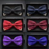 Red bow tie for men wedding black butterfly ties mens business and party gold yellow navy blue man bowtie metal angle decoration