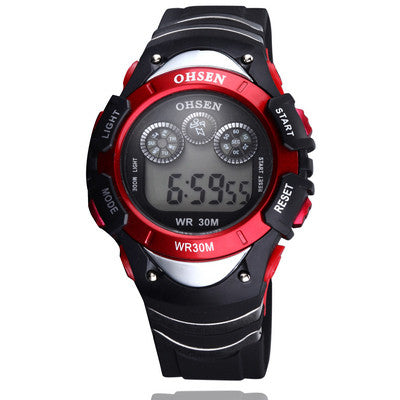 Sport watch boys child digital display waterproof silicone band 7 colours yellow fashion watches for gift