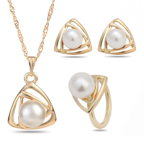 Classical Wedding Gold Platinum Plated Pearl Jewelry Set Triangle Geometric Jewelry Sets,Pendant Necklace/Earrings/Ring