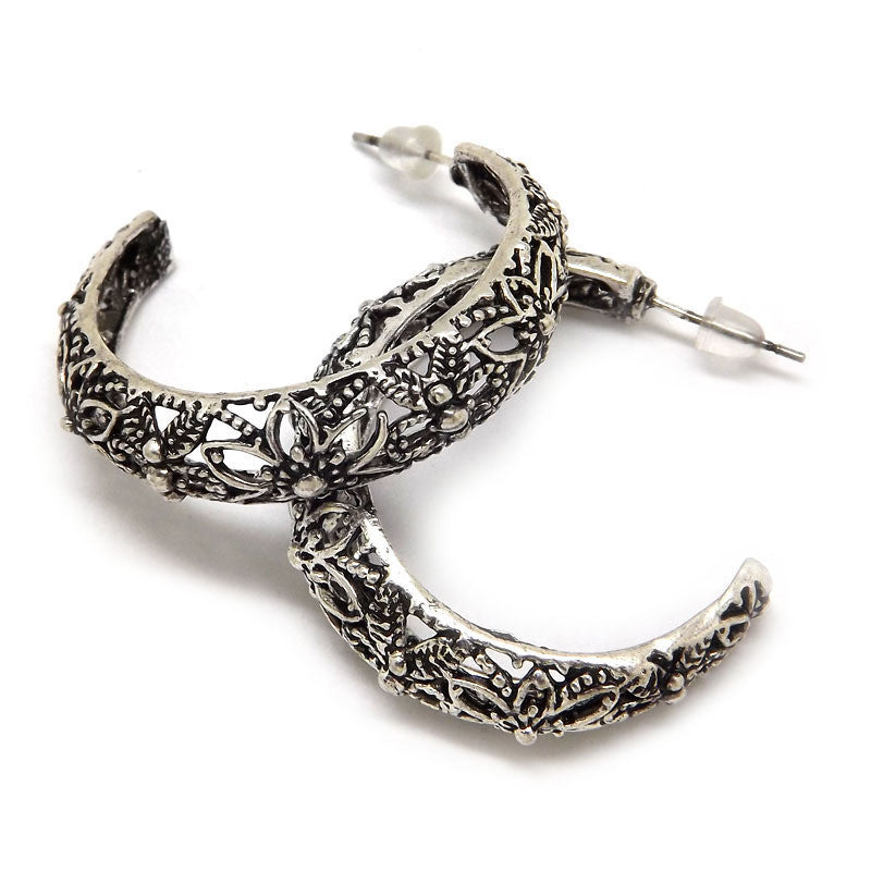 Retro Antique Tibet Silver Vine Hollow Filigree Vintage Earrings For Women Girls