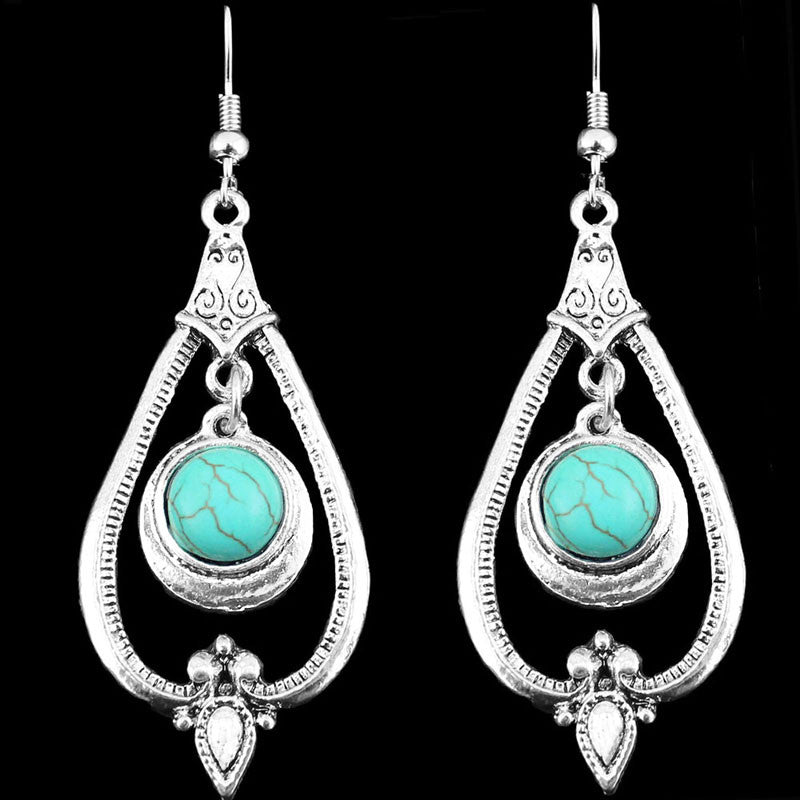 Retro Craft Vintage Look Antique Silver Plated Flower Turquoise Dangle Drop Earrings
