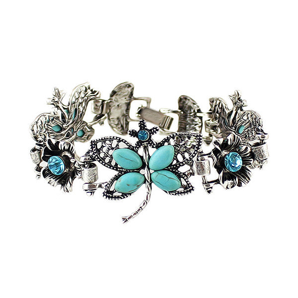 Retro Style Blue Rhinestone Butterfly Antique Party Charm Bracelets For Elegant Women