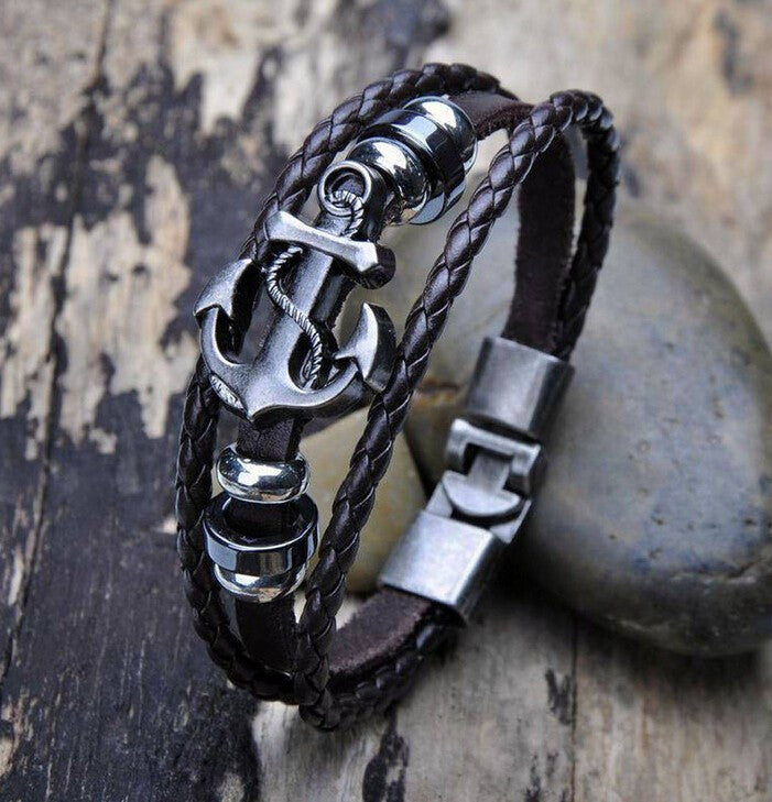 Retro anchor Leather Woven Charm Bracelet Jewelry Men Vintage Braided Bangles Male Pulseiras Masculinos Gift